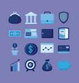 portfolio with set icons economy finance vector image