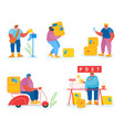 post office workers and clients set isolated on vector image vector image