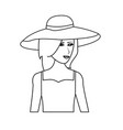 Pretty happy woman wearing big sun hat icon image