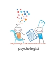 psychologist with a folder and the patients head vector image vector image