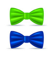 realistic drawing solemn bow tie green and blue vector image