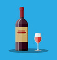 red wine bottle and glass wine alcohol drink vector image