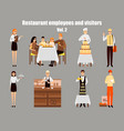 restaurant workers cartoon characters people work vector image