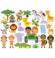 safari clipart bundle cute animals and kids vector image vector image