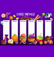 school timetable template with halloween candies vector image vector image