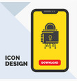 security cyber lock protection secure glyph icon vector image