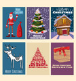 set cute lovely christmas greeting cards happy vector image