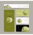 Set of business cards design apple sketch vector image vector image