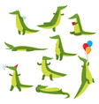 set of fun green crocodiles occupying a pleasant vector image vector image