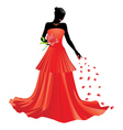 Silhouette of girl with rose vector image