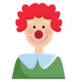 simple of a clown with green shirt and red curley vector image