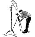 sketch a photographer at work vector image vector image