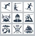 ski and snowboard resort icon set vector image vector image