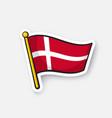 sticker flag denmark on flagstaff vector image
