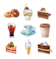 Street cafe products cartoon set Chocolate vector image vector image
