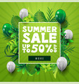 summer sale up to 50 off green square discount vector image