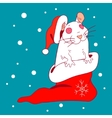 The white rat in a New Year cap and sock vector image