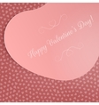 Valentines Day big pink Heart Card on Pattern vector image vector image