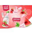 watermelon bubblegum realistic advertisement vector image vector image