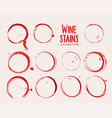 wine glass stain texture set design vector image vector image