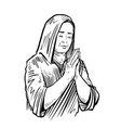 woman folded her hands for praying sketch vector image vector image