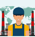 worker portrait chemical plant world oil industry vector image vector image