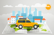 World map with the bus infographic elements Summer vector image vector image