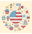 USA Presidential Election 2016 Line Art Thin Icons vector image