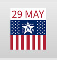 memorial day background date 29 may and usa flag vector image