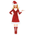 woman in santa coat whole figure vector image