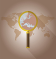 World map countries with Europe magnifying glass vector image