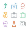 9 bag icons vector image vector image