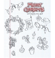 a set christmas items gifts toys garlands black vector image