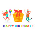 birthday party celebration people jumping in air vector image vector image
