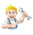 cartoon mechanic or plumber vector image vector image