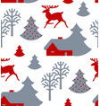 christmas seamless pattern with deer trees fir vector image