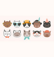 collection of cute funny cat faces or heads vector image vector image