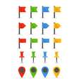 Color pins and flags collection vector image vector image