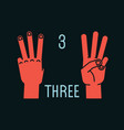 count on fingers number three gesture stylized vector image vector image
