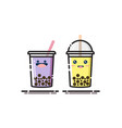 cute bubble tea or boba tea cartoon with mbe style vector image vector image