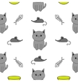 Cute gray cartoon cat Bowl fish bone mouse toy vector image vector image