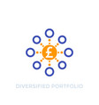 diversified portfolio icon with pound vector image vector image