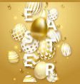 easter light background with realistic golden vector image vector image