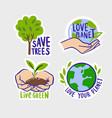 ecologic labels eco safe emblems green logo vector image vector image