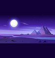 egyptian desert with river and pyramids at night vector image vector image