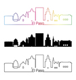 El Paso skyline linear style with rainbow vector image