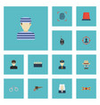 flat icons policeman walkie-talkie signal and vector image vector image
