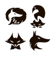 Fox set of silhouettes vector image vector image