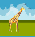 giraffe on nature background vector image vector image