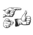 hand gesture engraving set 3 vector image